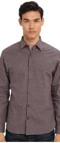 Michael Kors Floyd Check CEO Shirt (Dark Bordeaux) Men's Long Sleeve Button Up - Michael Kors, Floyd Check CEO Shirt, CF44C7G05Y-545, Apparel Top Long Sleeve Button Up, Long Sleeve Button Up, Top, Apparel, Clothes Clothing, Gift - Outfit Ideas And Street Style 2017