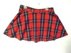 Tracy Evans plaid skirt 9 m New flared above knee stretch red black white new