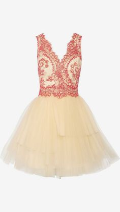 Corded lace and tulle mini dress  Appropriate for inverted triangle body shape.