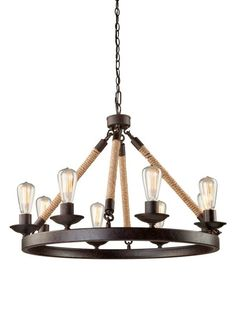 Artcraft Lighting CL278 Danbury 8 Light Rope Chandelier - 31 Inches Wide Bronze Indoor Lighting Chandeliers