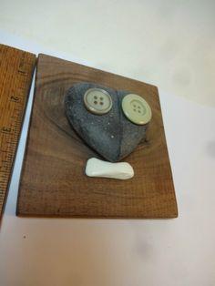 ButtonArtMuseum.com - Outsider Art Wood Stone Face Abstract Mouse Button Heart Walnut Wall Decor Love