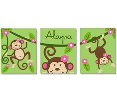 "Nursery Wall Art Monkey Vine 3 11"" x 14"" Stretched Canvas Decor Kids Prints OHSC. $89.95, via Etsy."