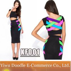 2014 Summer Women KF001 Cut Out Cross Colorful Patchwork Bandage Outfit Bodycon Party Dresses two piece sexy club casual dress $11.99