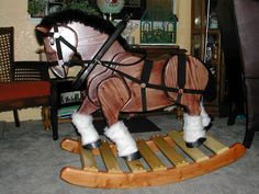 We made this Rocking Horse for our Grandson's first Christmas.#horse #DIY +woodworking