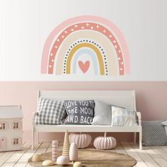 Trendy Bohemia Pink Rainbow Removable Wall Decals Nursery Art Stickers Wallpaper Posters Girls Bedroom Gift Easy Use Home Decor