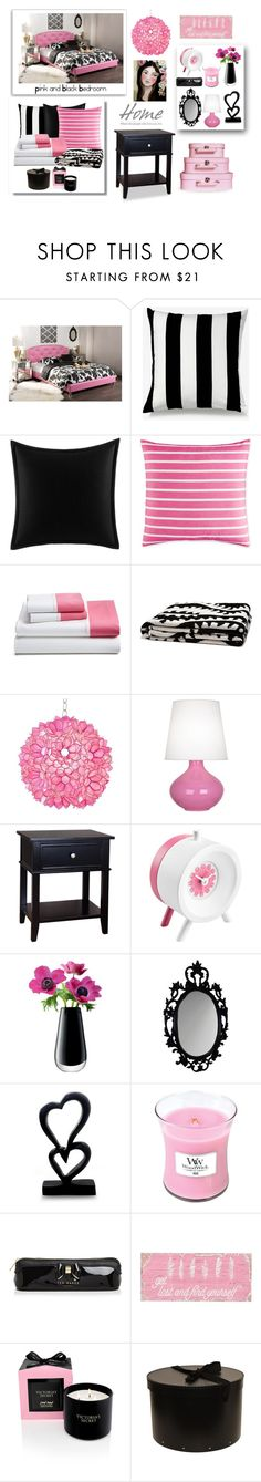 """Pink and Black Bedroom"" by terry-tlc ❤ liked on Polyvore featuring interior, interiors, interior design, home, home decor, interior decorating, Baxton Studio, Unison, Betsey Johnson and Kate Spade"