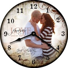 This is so neat! You can custom order clocks with family photos, wedding, ect. !