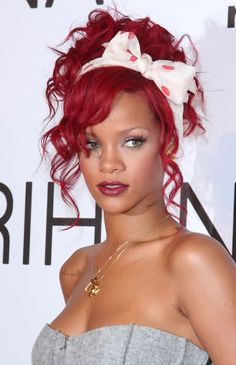Rihanna - red hair, I love her headband, and hair.