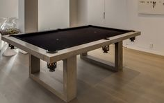 The James De Wulf Indoor Concrete Pool Table is a modern pool table for the ages. Comprised of a solid concrete top and steel frame - and boasting felt and blac Diy Pool Table, Outdoor Pool Table, Custom Pool Tables, Pool Table Room, Diy Table, Indoor Outdoor, Patio, Modern Game Tables, Modern Games
