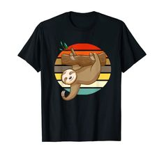 Amazon.com: Trendy Sloth Hanging On Branch Vintage Retro Style Gift T-Shirt: Clothing