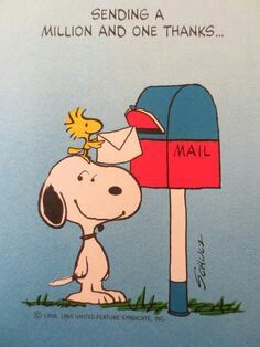 Snoopy - A million and one thanks at postbox