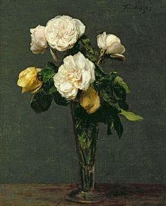 Roses dans une flûte à champagne - 1873 - Henri FANTIN-LATOUR - huile sur toile - 38.5 x 31 cm - Collection particulière