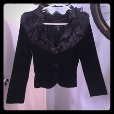 Escada black velvet jacket with ruffles size 36 Gorgeous!  Very unique statement piece.  Fits like size 2, size small Escada Jackets & Coats Blazers