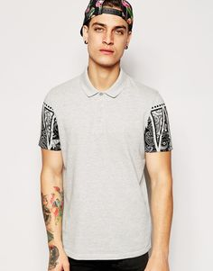 Image 1 of ASOS Polo Shirt With Bandana Print Sleeves In Pique