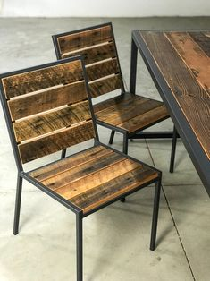 Welded Furniture, Iron Furniture, Industrial Furniture, Rustic Furniture, Rustic Chair, Metal And Wood Chairs, Wood And Metal, Modern Interior Design, Interior And Exterior