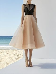 Sexy A-Line Tulle Prom Dress,Sleeveless Tea Length Homecoming Dress