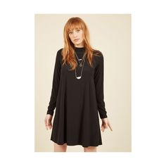 LBD Mid-length Long Sleeve Shift Justified Blitheness Shift Dress ($60) ❤ liked on Polyvore featuring dresses, apparel, black, fashion dress, long sleeve mid length dress, mock neck dress, knit dress, longsleeve dress and little black dress