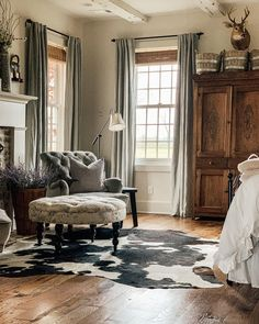 Rustic Chair, Oversized Mirror, Curtains, Couch, Furniture, Softies, Rustic Farmhouse, Chairs, Home Decor