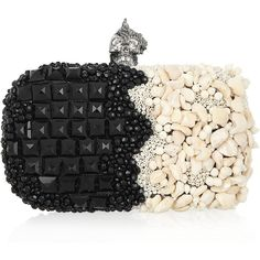 Alexander McQueen Punk Shell embellished box clutch (£1,845) ❤ liked on Polyvore featuring bags, handbags, clutches, purses, accessories, borse, alexander mcqueen, studded handbags, punk purse and beaded clutches