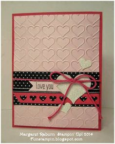 Fun Stampin' with Margaret!  Stacked with Love DSP; Pink Pirouette and Strawberry Slush, Hearts Border Punch, Happy Heart TIEF, Dazzling Diamonds Glimmer Paper.  Creative Blog Hop