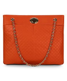 Love this Tangerine Quilted Chain Tote on #zulily! #zulilyfinds