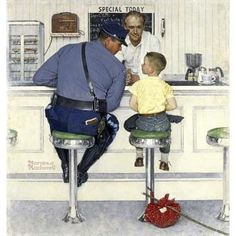 Norman Rockwell brought runaway Ed Locke and Massachusetts state trooper Richard Clemens to the Howard Johnson's restaurant in Pittsfield, MA. Canvas Wall Art, Canvas Art Prints, Painting Prints, Art Paintings, Wrapped Canvas, Norman Rockwell, Giclee Print, Fine Art, Artwork