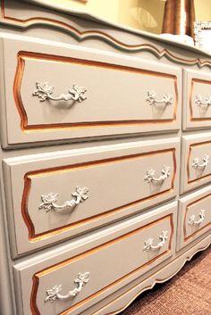Painted vintage dresser detail. #vintage #nursery