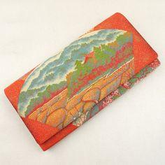 Orange hand bag / しっとりと落ち着いた色柄が少し改まった印象のクラッチバッグ http://www.rakuten.co.jp/aiyama #Kimono #Japan #aiyamamotoya