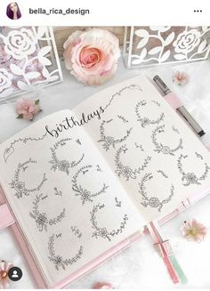 A collection of minimalist flower bullet journal designs that are easy to draw. Bullet Journal Aesthetic, Bullet Journal Notebook, Bullet Journal How To Start A, Bullet Journal Spread, Bullet Journal Layout, Bullet Journal Inspiration, Journal Ideas, Bullet Journals, Simple Flower Design