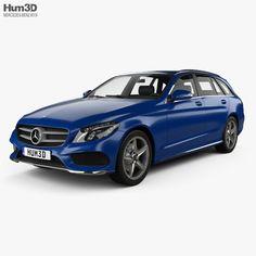 Mercedes-Benz C-Class (S205) estate AMG line 2014 3d model from Hum3D.com.