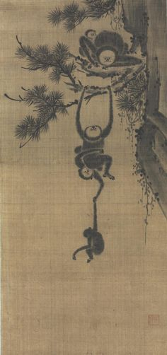 "Gibbon Family in Pine Tree, Seo Taek, Korean Geography: Made in Korea, Asia Period: Joseon Dynasty (1392-1910) Date: Late 18th - 19th c Medium: Ink on silk, mounted as a hanging scroll Dimensions: Image: 33 1/8 × 15 3/4 inches (84.1 × 40 cm) Mount: 66"" × 20 1/4"" (167.6 × 51.4 cm) Curatorial Department: East Asian Art Object Location: Currently not on view Accession Number: 2010-210-1 Credit Line: Gift of George M. Cheston, 2010"