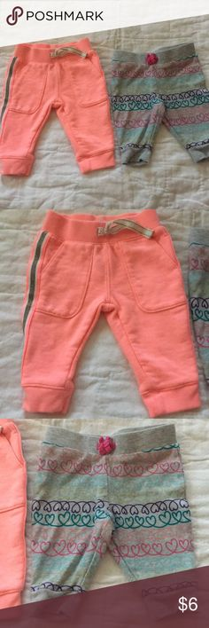 2 pairs girls pants Grey are Jumping Bean brand. 100% cotton. The pink are Carters. 60% cotton 40% polyester. Great condition Carter's Bottoms Sweatpants & Joggers