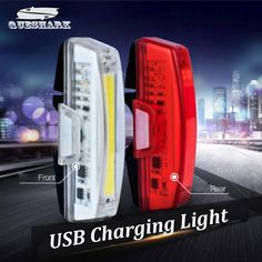 Waterproof LED USB Recharging Bicycle Light Night Safety Cycling Rear Warning Bike Front Fork Light Bicycle Taillight Lamp Size: 7.7*1.4*3cm ...