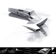 architecture presentation layout _ black and white render with diagrams