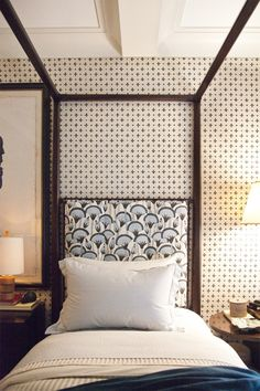 Thomas O'Brien, love the headboard fabric + wallpaper {this reminds me of Kevin's parents Master B-rm in Home Alone}