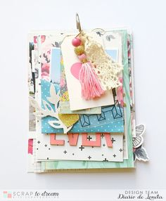 Diario de Loneta: Mini álbum desestructurado Mini Albums, Mini Scrapbook Albums, Scrapbook Page Layouts, Diy Scrapbook, Scrapbook Cover, Pink Crafts, Diy And Crafts, Paper Crafts, Homemade Birthday Cards