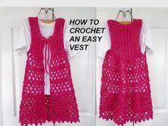 How to crochet a LONG Lacy Openwork PINK VEST, easy vest, clothing, free video tutorial, My Crafts