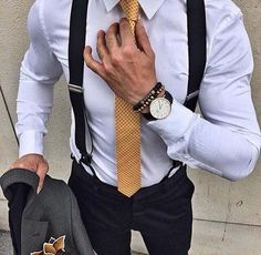Men's suspenders are a trend that started up in the and have come back today. Suspenders are a great touch to the mens working outfit. It puts the outfit together nicely and is a nice looking accessory. Sharp Dressed Man, Well Dressed Men, Fashion Mode, Mens Fashion, Fashion Menswear, Fashion Clothes, Fashion Fashion, Fashion Dresses, Mode Man