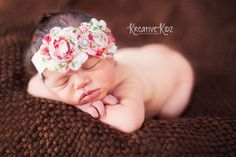 Vintage Inspired Roses Shabby Chic Frayed Flowers Pearl Rhinestone Center on Lace Stretch Headband- Newborn- Infant- Toddler- Photo Prop