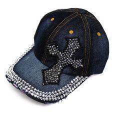 Denim Bling Cross Cap