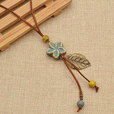 Amazon.com: Ceramic Flower Pendant Necklace Vintage Leaf Long Necklace Sweater Decoration 1 Pc: Jewelry