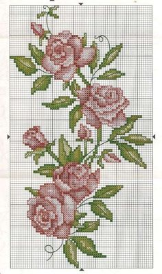 Crossstitch Roses / Flowers Pattern for embroidery Cross Stitch Love, Cross Stitch Borders, Cross Stitch Flowers, Cross Stitch Charts, Cross Stitch Designs, Cross Stitching, Cross Stitch Embroidery, Embroidery Patterns, Hand Embroidery