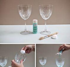 I.D.E.A: DIY. Copas de vino pintadas a mano, procedimiento.