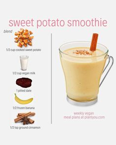 We love everything sweet potato! Did you know sweet potato can taste good in a smoothie too? Well, why dont you try it out for yourself? This simple whole food plant-based recipe includes 5 ingredients and you wont be disappointed. Fruit Smoothies, Healthy Smoothies, Healthy Drinks, Smoothie Recipes, Smoothie Diet, Eat Healthy, Sweet Potato Smoothie, Whole Food Recipes, Vegan Recipes