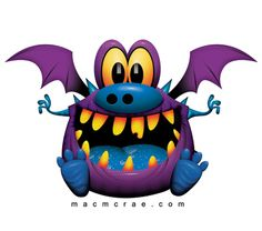 I just luv this little fella he's so dang cute! Smiling purple monster with wings