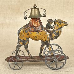 Early American painted tin bell toy