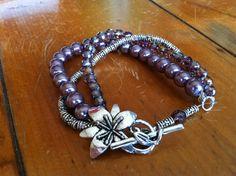 multi strand bracelet purple glass pearl silver by DeniKaiDesigns, $20.00