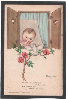 Cartolina All'Alba ana colomba BAMBINO ROSA Illustratore Mariapia YA350 | eBay