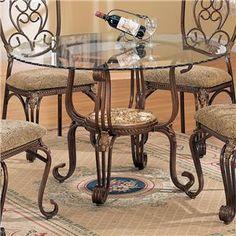 Ellen Metal Table w/ Glass Top by Crown Mark