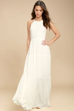 Lovely White Sleeveless Maxi Dress - Embroidered Maxi Dress